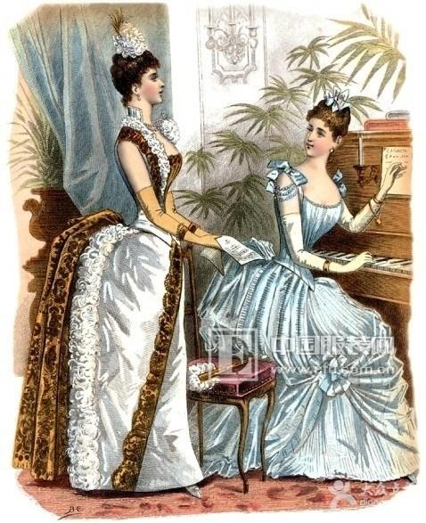 在蓬蓬裙的色彩方面,古罗马时代最流行的是白色和紫色,紫色象征图片