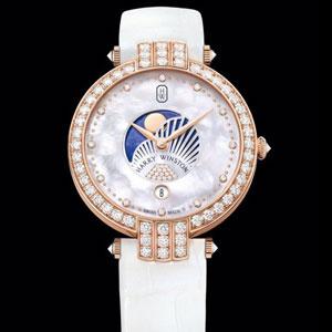 海瑞温斯顿卓时系列36毫米月相女装腕表